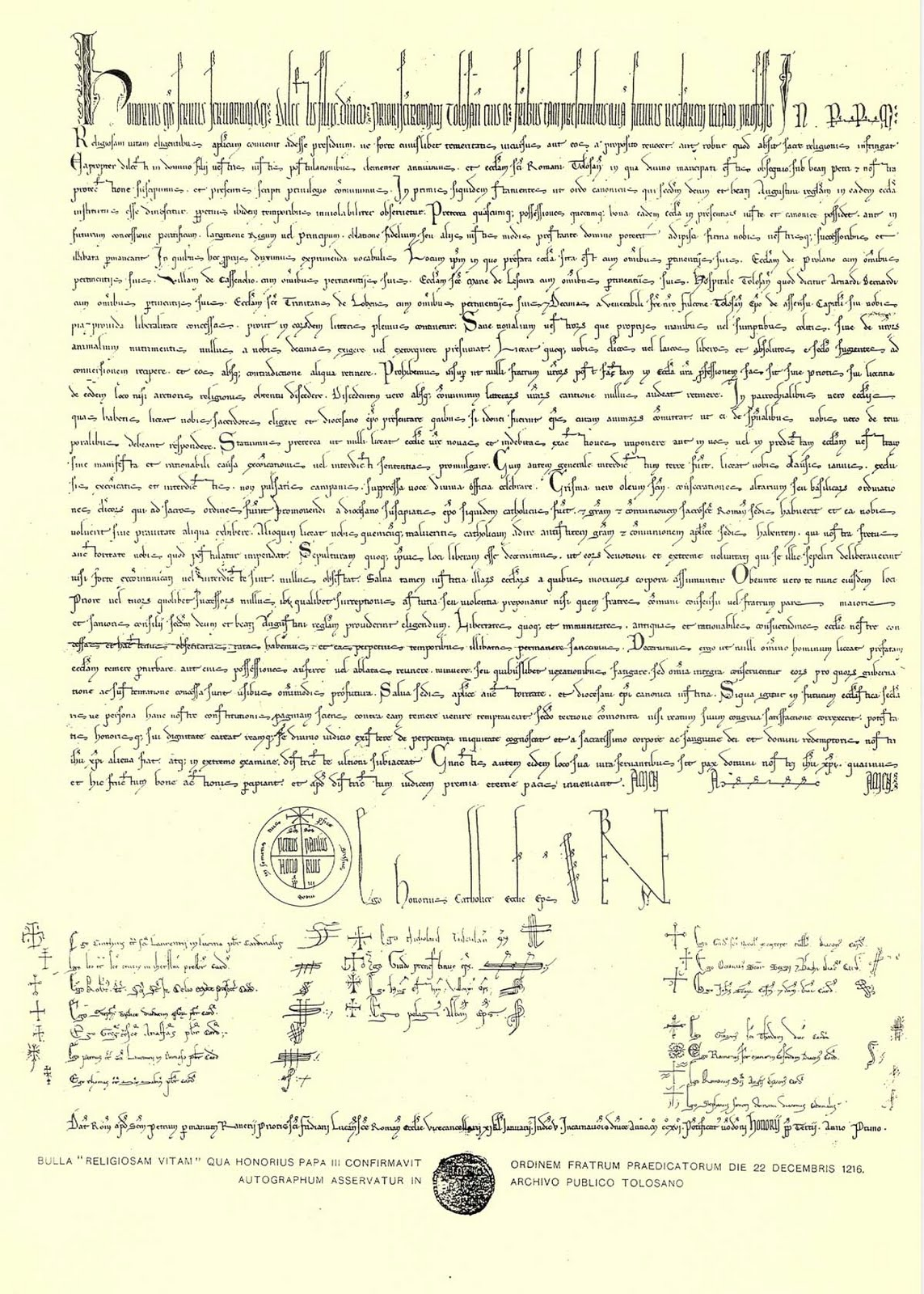 """Papež Honorius III. bula """"Religiosam Vitam"""" 22. prosinec 1216"""